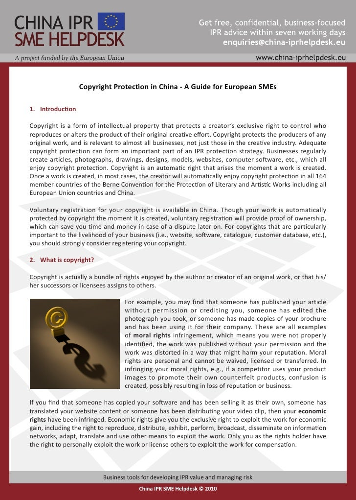 Copyright Protection in China - A Guide for European SMEs  11 Introduction  Copyright is a form of intellectual property t...