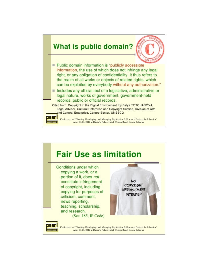 """What is public domain?   Public domain information is """"publicly accessible   information, the use of which does not infrin..."""