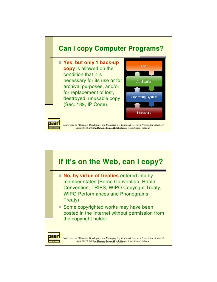 Can I copy Computer Programs? Yes, but only 1 back-up copy is allowed on the condition that it is necessary for its use or...
