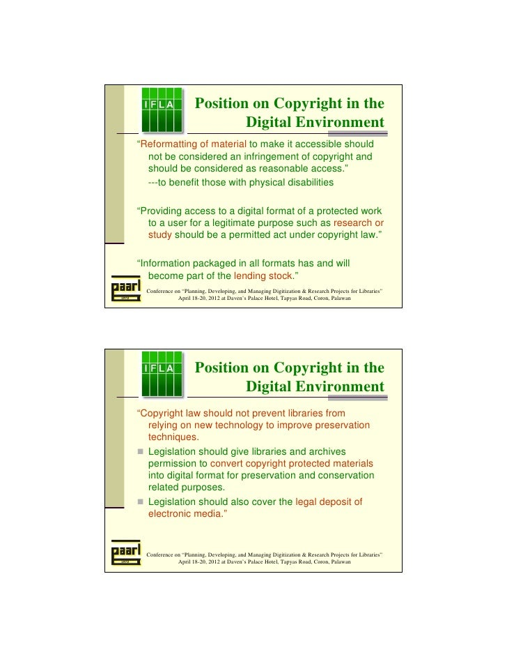 """Position on Copyright in the                             Digital Environment""""Reformatting of material to make it accessibl..."""