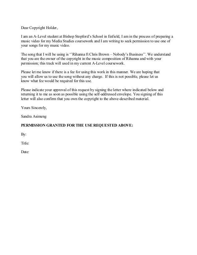 Copyright Permission Letter
