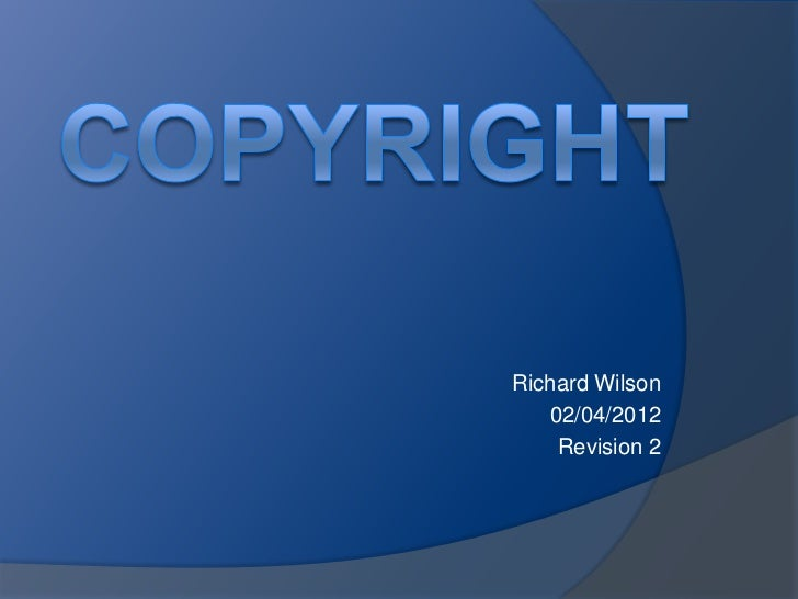 Richard Wilson   02/04/2012    Revision 2