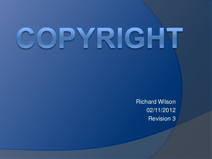 Richard Wilson    02/11/2012    Revision 3