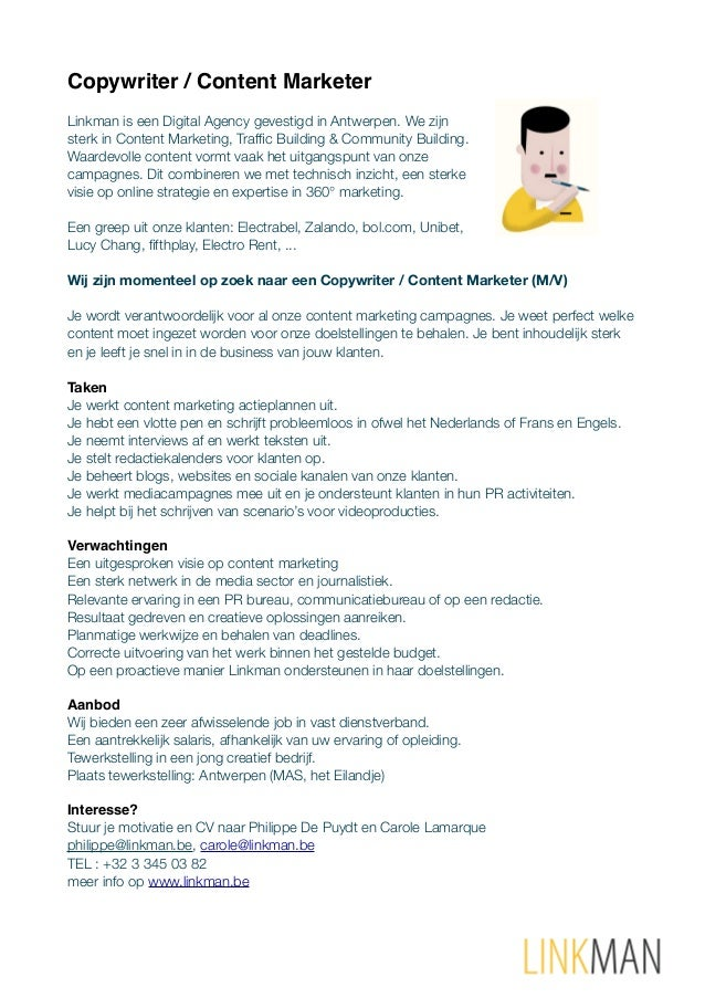 Copywriter / Content Marketer Linkman is een Digital Agency gevestigd in Antwerpen. We zijn sterk in Content Marketing, Tr...