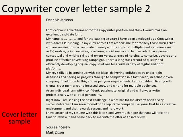 Creative Copywriter Cover Letter copywriter cover letter resume ...