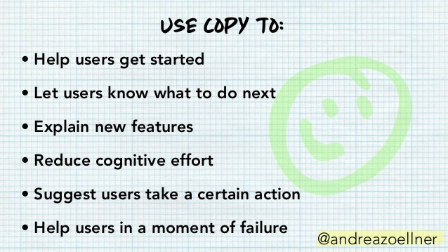 • Check for typos • Edit for consistency • Review the order • Narrow the focus • Timing copyEditing your screens VVVVVV