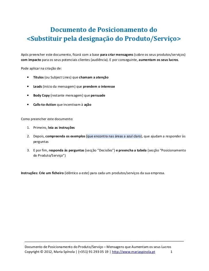Documento de Posicionamento do   <Substituir pela designação do Produto/Serviço>Após preencher este documento, ficará com ...