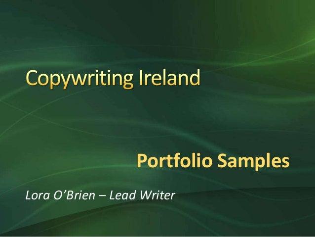 Portfolio Samples Lora O'Brien – Lead Writer