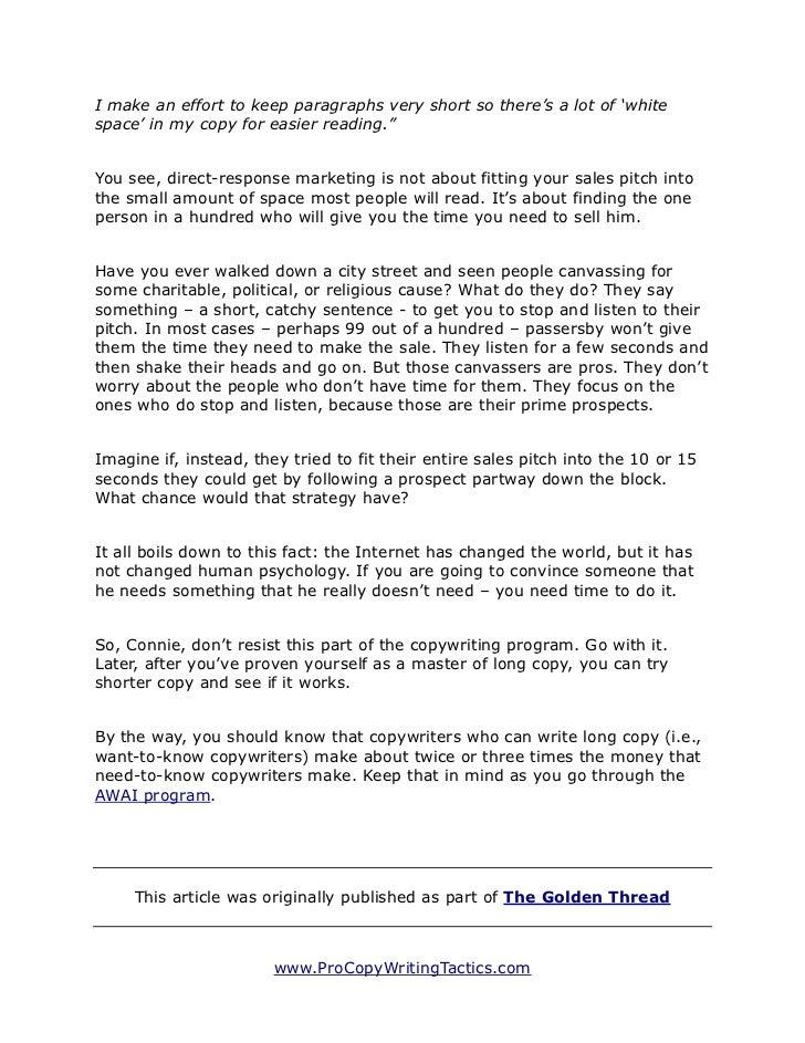 Sales Tactics Copywriter Cover Letters