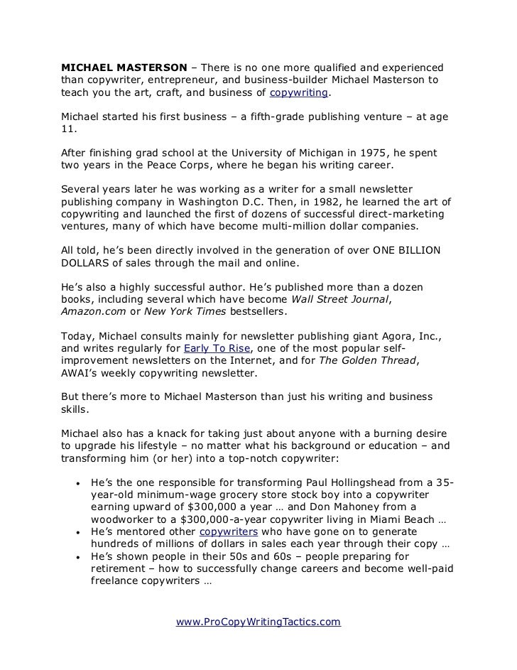 Copywriting Secrets Of The Masters Michael Masterson How Long Sho