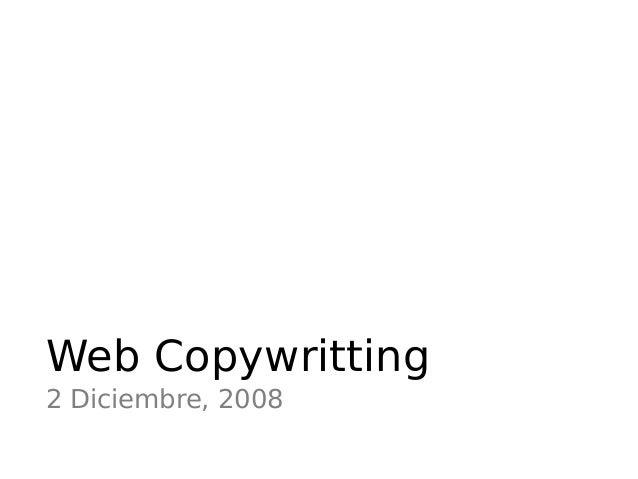 Web Copywritting 2 Diciembre, 2008