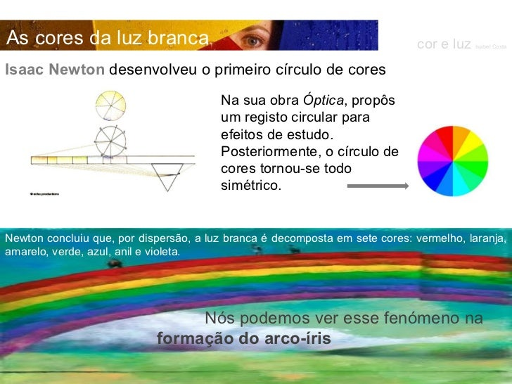 Isaac Newton  desenvolveu o primeiro círculo de cores Na sua obra  Óptica , propôs um registo circular para efeitos de est...