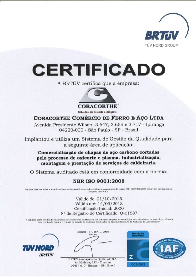 Certificado ISO 9001:2008 | BRTÜV – TÜV NORD GROUP - Coracorthe
