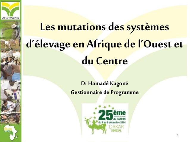 Les mutations des systèmes d'élevage en Afrique de l'Ouest et du Centre DrHamadé Kagoné Gestionnaire de Programme 1