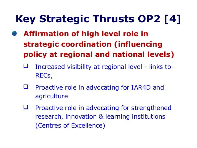 Strategic thrust areas