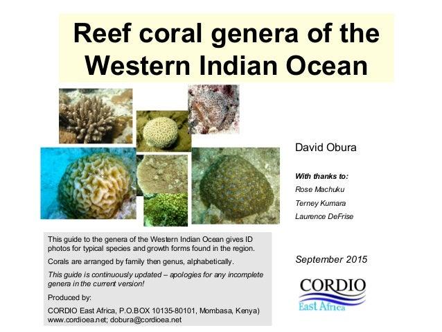 Reef coral genera of the Western Indian Ocean David Obura With thanks to: Rose Machuku Terney Kumara Laurence DeFrise This...