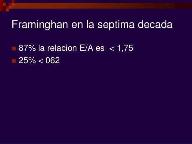 Framinghan en la septima decada  87% la relacion E/A es < 1,75  25% < 062