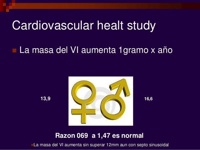 Cardiovascular healt study  La masa del VI aumenta 1gramo x año 16,613,9 Razon 069 a 1,47 es normal La masa del VI aumen...