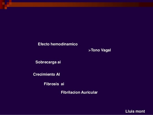 Lluis mont Efecto hemodinamico Sobrecarga ai Crecimiento AI Fibrosis ai Fibrilacion Auricular >Tono Vagal