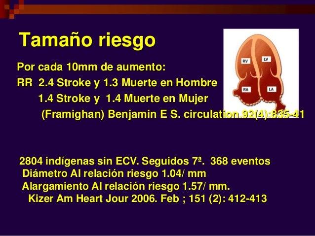 Tamaño riesgo Por cada 10mm de aumento: RR 2.4 Stroke y 1.3 Muerte en Hombre 1.4 Stroke y 1.4 Muerte en Mujer (Framighan) ...