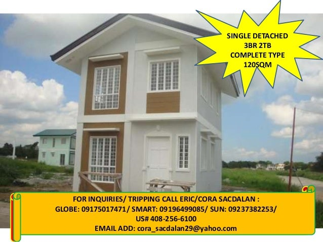 SINGLE DETACHED 3BR 2TB COMPLETE TYPE 120SQM  FOR CALL: MARLENE 09129741591/ 09279746297/ 09328559226 FOR INQUIRIES: INQUI...