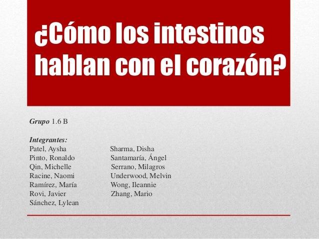 ¿Cómo los intestinos hablan con el corazón? Grupo 1.6 B Integrantes: Patel, Aysha Sharma, Disha Pinto, Ronaldo Santamaría,...