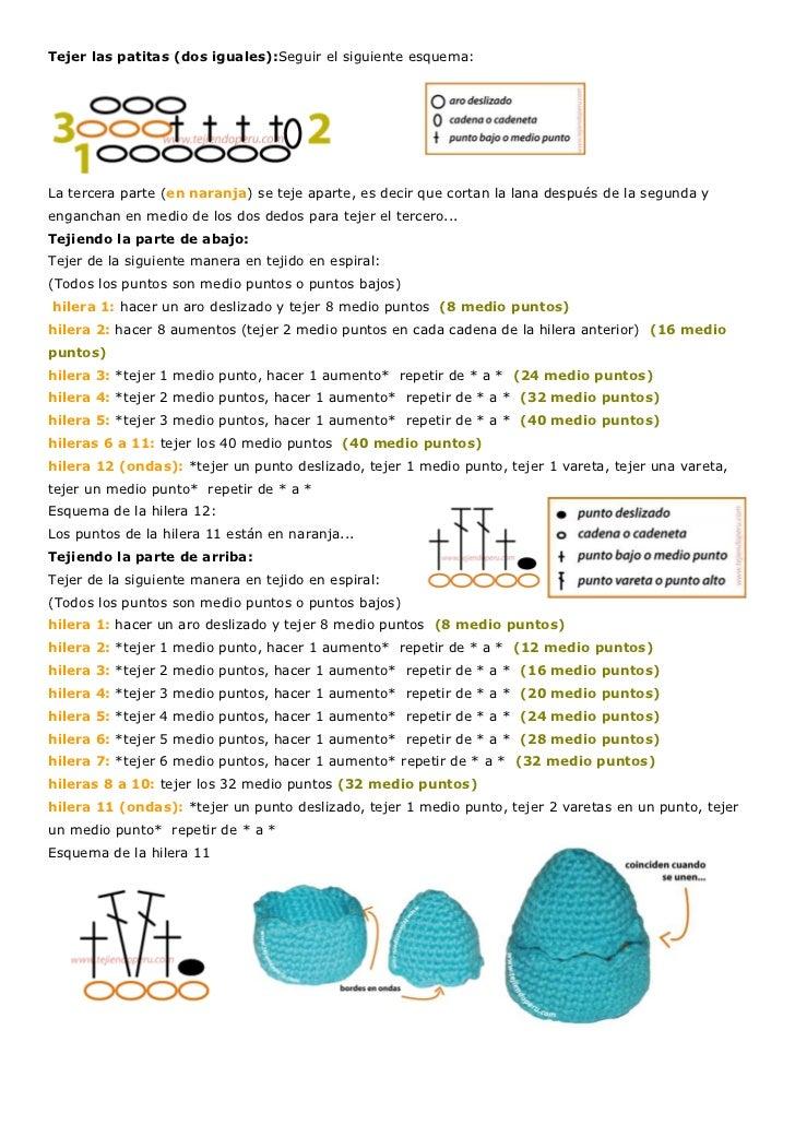 Tejer las patitas (dos iguales):Seguir el siguiente esquema:La tercera parte (en naranja) se teje aparte, es decir que cor...