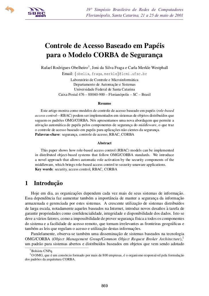 19° Simpósio Brasileiro de Redes de Computadores SBRC   20 01                                 Florianópolis, Santa Catarin...