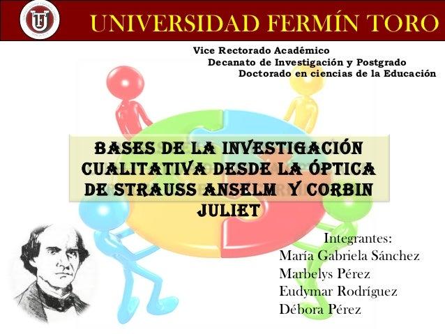 UNIVERSIDAD FERMÍN TORO          Vice Rectorado Académico             Decanato de Investigación y Postgrado               ...