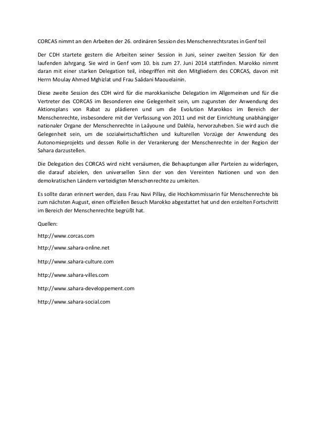 CORCAS nimmt an den Arbeiten der 26. ordinären Session des Menschenrechtsrates in Genf teil Der CDH startete gestern die A...