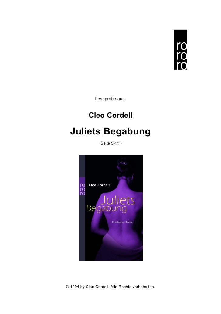 Leseprobe aus:               Cleo Cordell    Juliets Begabung                  (Seite 5-11 )     © 1994 by Cleo Cordell. A...