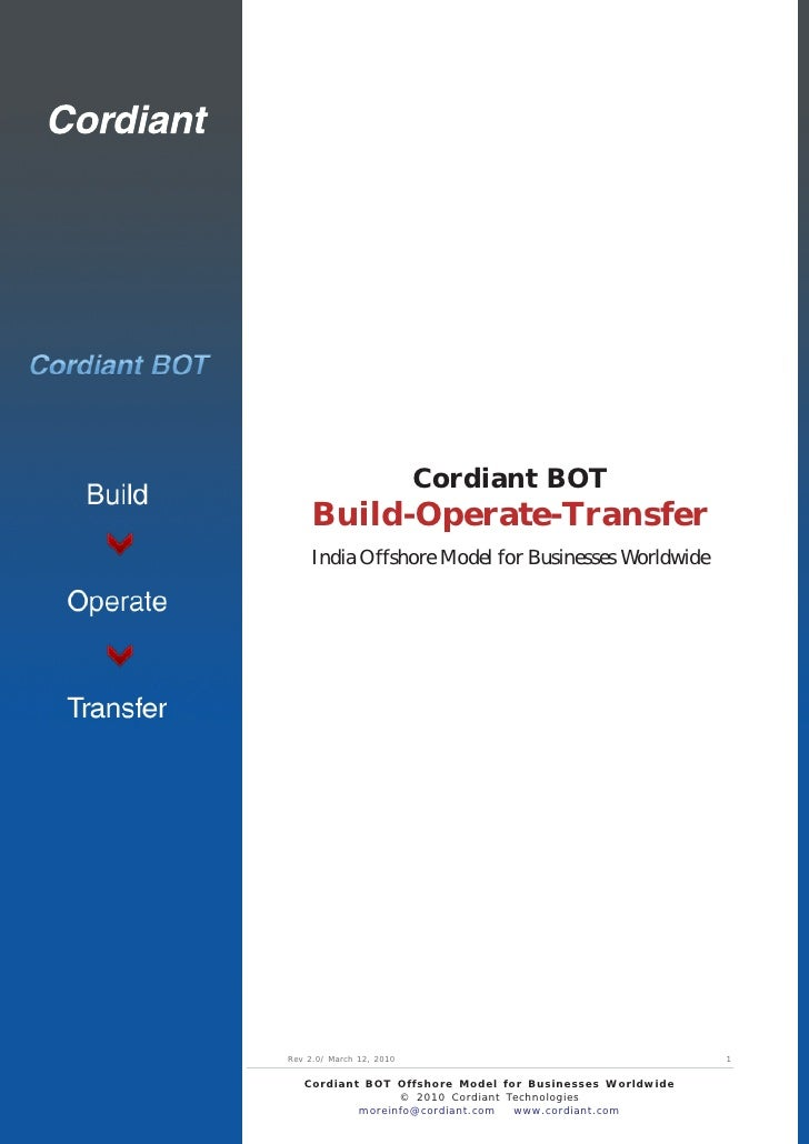 Cordiant BOT      Build-Operate-Transfer      India Offshore Model for Businesses Worldwide     Rev 2.0/ March 12, 2010   ...