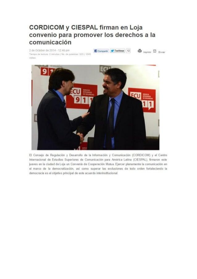 """CORDICOM y CIESPAL firman en Loja convenio para promover los derechos a la comunicación  laccüpi"""" : Hrwmear 12 5-:  inwirn..."""