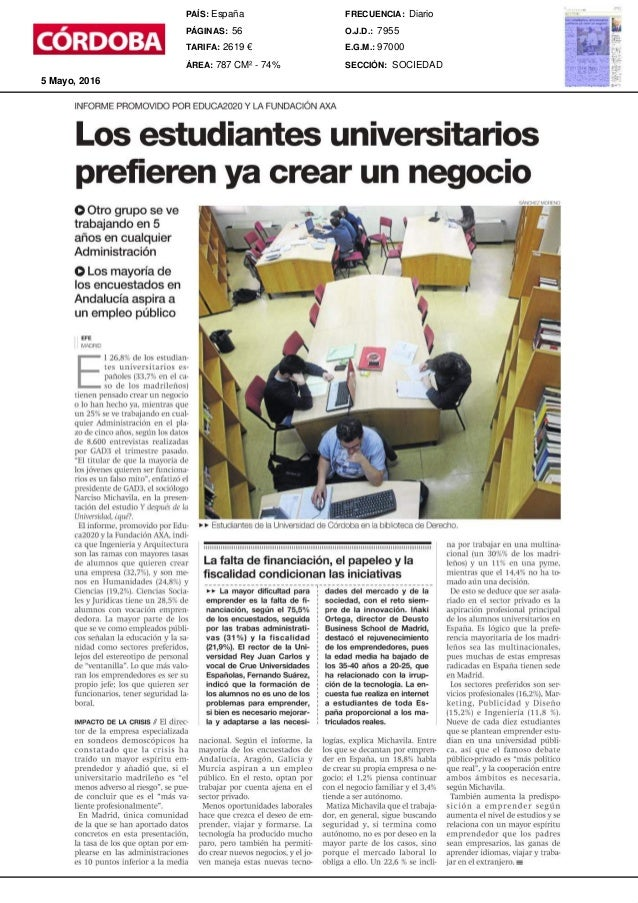 INFORMEPROMOVIDOFOR EDUCA2020Y L/~ FUNDACIONAXA Los estudiantes universitarios prefieren ya crear un negocio OOtrogrupose ...