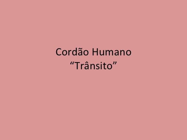 """Cordão Humano """"Trânsito"""""""