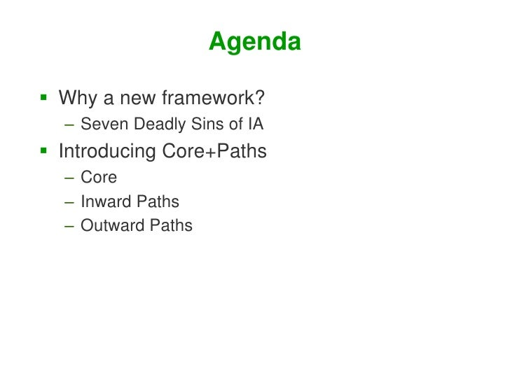 Core and Paths: Designing Findability from the Inside and Out Slide 2
