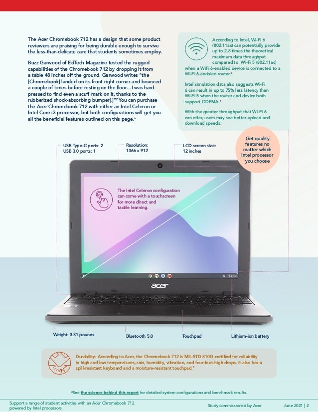 Support a range of student activities with an Acer Chromebook 712 powered by Intelprocessors Slide 2