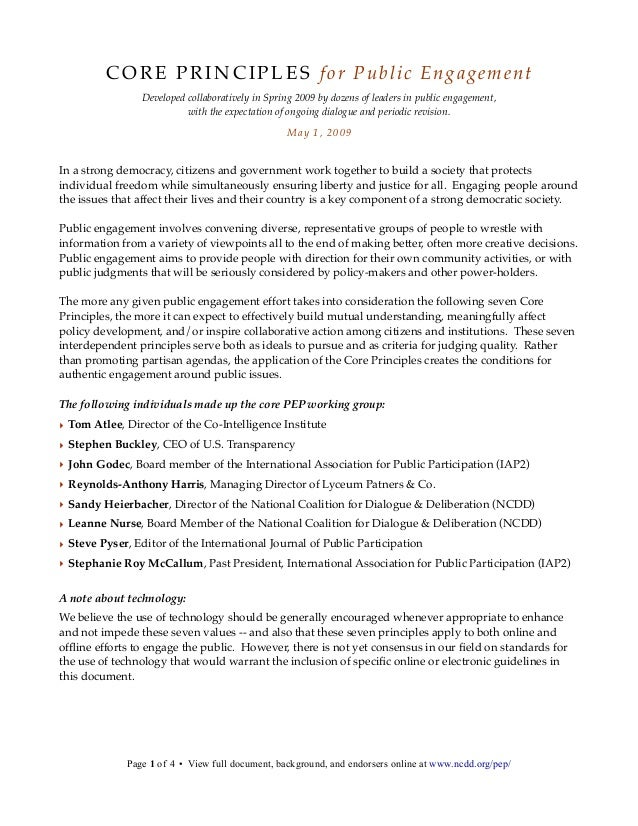 CORE PRINCIPLES for Public Engagement Developed collaboratively in Spring 2009 by dozens of leaders in public engagement, ...