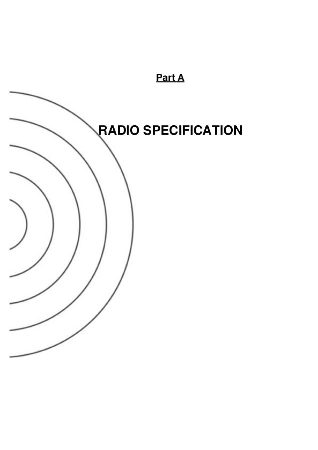 Part A RADIO SPECIFICATION