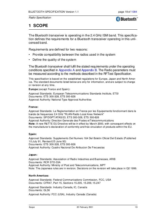 20 22 February 2001 Frequency Bands and Channel Arrangement BLUETOOTH SPECIFICATION Version 1.1 page 20 of 1084 Radio Spec...