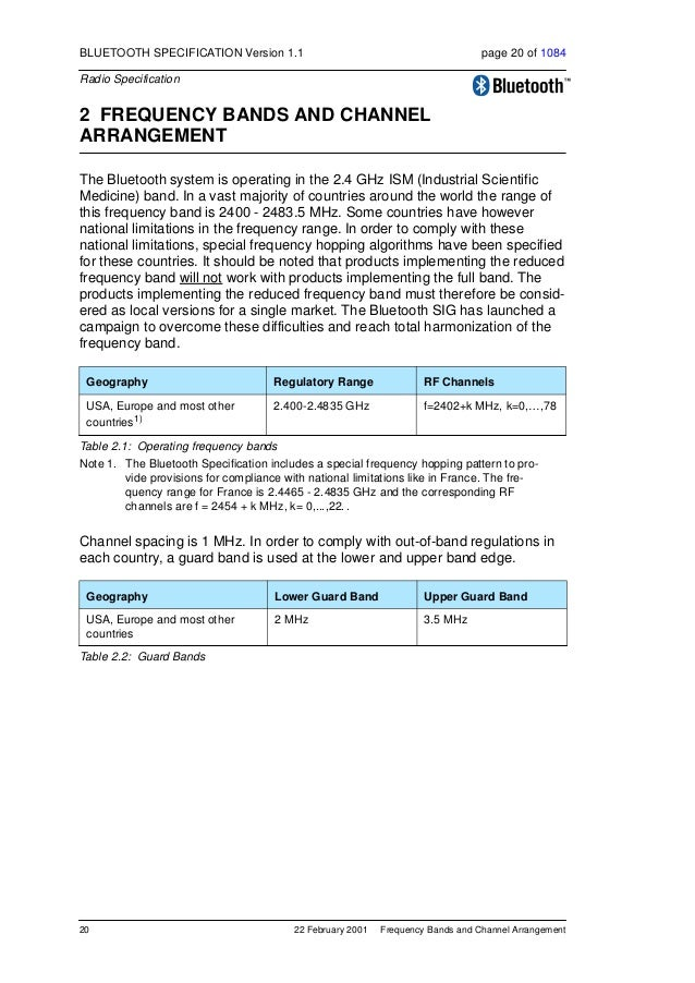 Transmitter Characteristics 22 February 2001 21 BLUETOOTH SPECIFICATION Version 1.1 page 21 of 1084 Radio Specification 3 ...