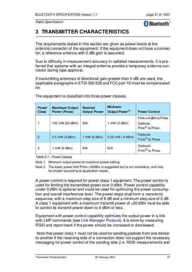 22 22 February 2001 Transmitter Characteristics BLUETOOTH SPECIFICATION Version 1.1 page 22 of 1084 Radio Specification re...