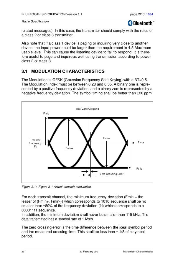 Transmitter Characteristics 22 February 2001 23 BLUETOOTH SPECIFICATION Version 1.1 page 23 of 1084 Radio Specification 3....