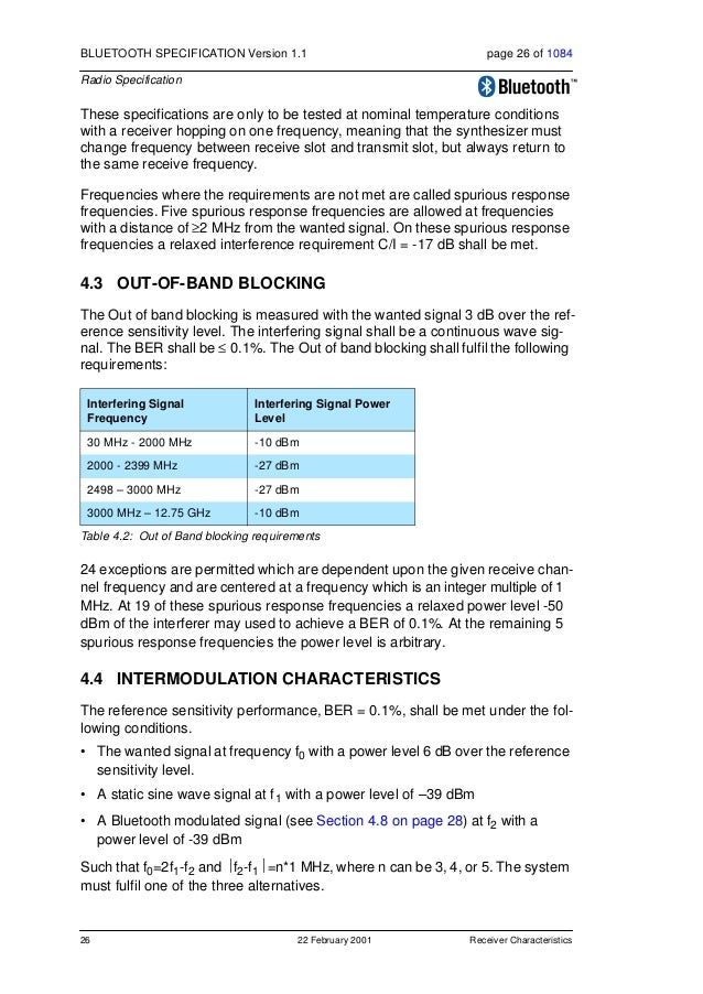 Receiver Characteristics 22 February 2001 27 BLUETOOTH SPECIFICATION Version 1.1 page 27 of 1084 Radio Specification 4.5 M...