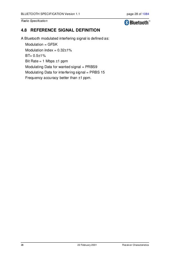 Appendix A 22 February 2001 29 BLUETOOTH SPECIFICATION Version 1.1 page 29 of 1084 Radio Specification 5 APPENDIX A 5.1 NO...