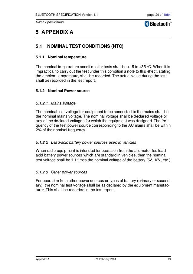 30 22 February 2001 Appendix A BLUETOOTH SPECIFICATION Version 1.1 page 30 of 1084 Radio Specification 5.2 EXTREME TEST CO...