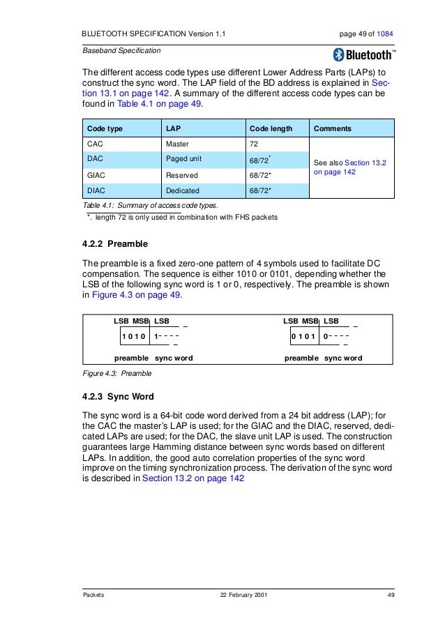50 22 February 2001 Packets BLUETOOTH SPECIFICATION Version 1.1 page 50 of 1084 Baseband Specification 4.2.4 Trailer The t...