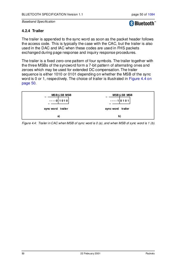 Packets 22 February 2001 51 BLUETOOTH SPECIFICATION Version 1.1 page 51 of 1084 Baseband Specification 4.3 PACKET HEADER T...