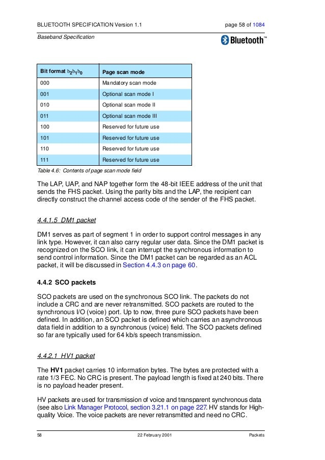 Packets 22 February 2001 59 BLUETOOTH SPECIFICATION Version 1.1 page 59 of 1084 Baseband Specification An HV1 packet can c...