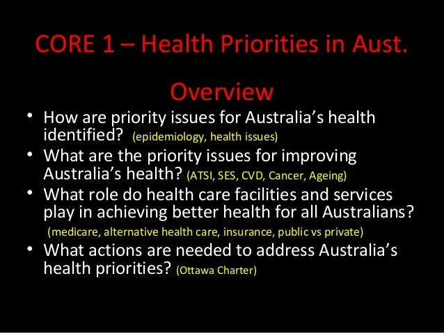 CORE 1 – Health Priorities in Aust.  Overview  • How are priority issues for Australia's health  identified? (epidemiology...